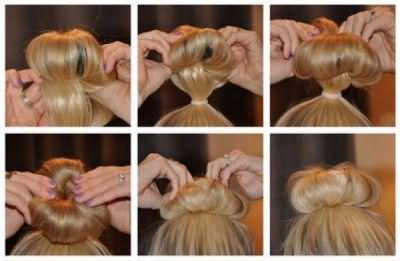 Вариант, как одеть бублик на волосы.