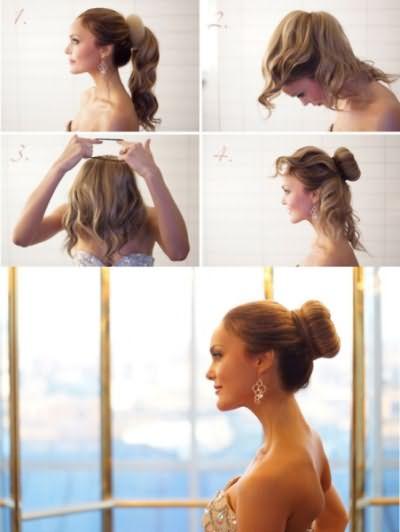 Классический вариант, как собрать волосы с помощью бублика.