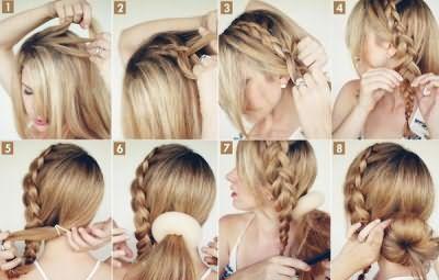 Изыскано и романтично смотрится прическа бублик на длинные волосы с косой.