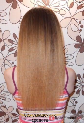 Волосы выпрямлены утюжком с термозащитой от Kaaral. Не обрабатывала силиконосодержащими маслами