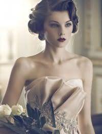 Свадебная ретро прическа волны на короткие волосы.