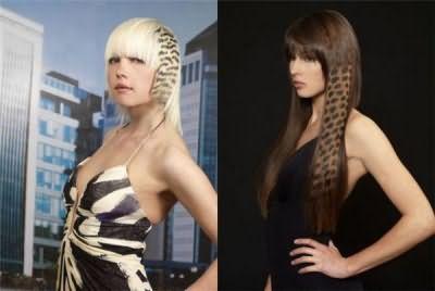 На фото изображены прически с принтами на светлых и темных волосах.