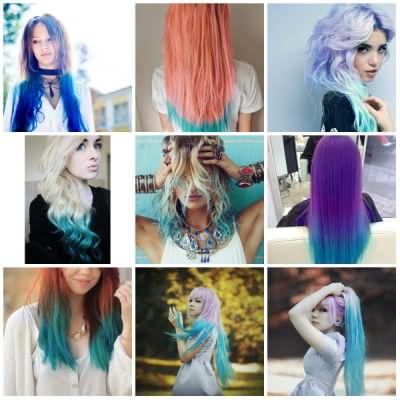 Синие концы волос— цвет неба на вашей шевелюре