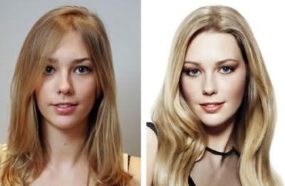 На фото: 3D окрашивание – до и после