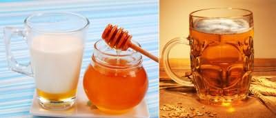Выровнять волосы поможет ополаскивание пивом, молоко и мед