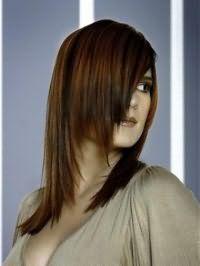 Оригинальная женская стрижка каскад для длинных волос тонкого типа хорошо смотрится на выпрямленных прядях, окрашенных в медно-каштановый оттенок