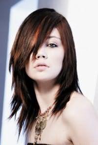 Оригинальный способ укладки стрижки лесенка с косой удлиненной челкой, выполненной на волосах средней длины с мелированными прядями рыжего тона