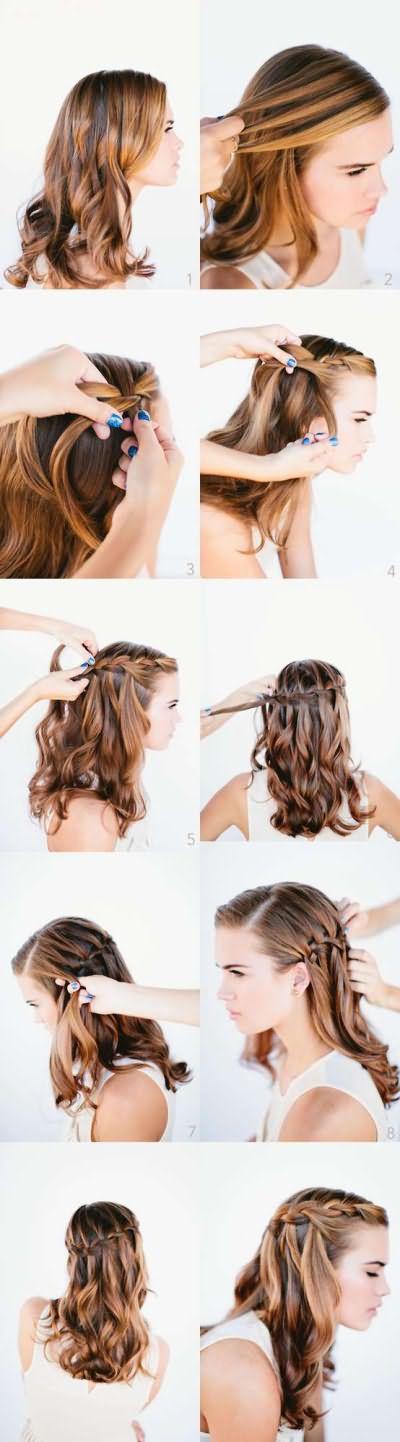 Схема плетения прически водопад для густых волос