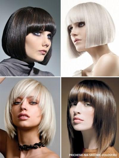 стрижки на средние волосы 2016 для круглого лица фото