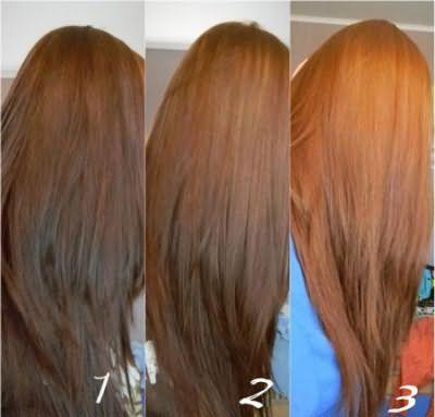 Изменение цвета волос после процедуры смывки