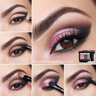 Пошаговое фото вечернего макияжа для карих глаз
