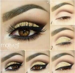 Поэтапное нанесение вечернего макияжа для карих глаз