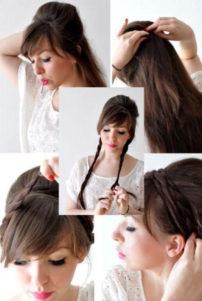 Прическа на длинные волосы с круглым валиком