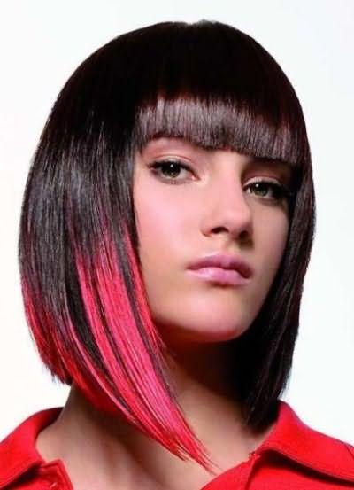 Цветное омбре на короткие волосы