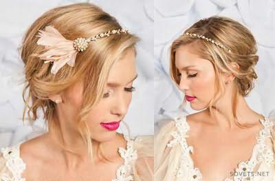 Свадебные прически с волнистыми локонами для средних волос