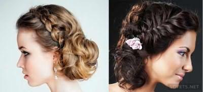 Свадебные прически с косичками для средних волос