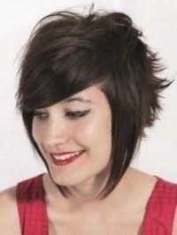 Популярная прическа с укладкой для средних каштановых волос в стиле эмо