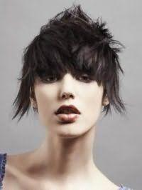 Креативная стрижка каскад с удлиненными прядями для коротких волос черного цвета