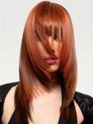 Модная креативная стрижка, выполненная лесенкой, с густой прямой челкой для длинных волос рыжего цвета
