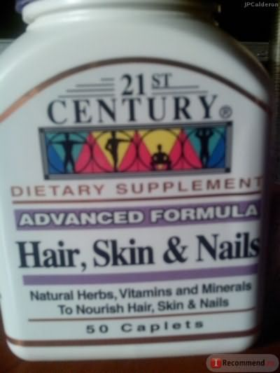 Витамины для волос, кожи и ногтей 21st Century Health Care Hair, Skin & Nails, 50 Caplets фото
