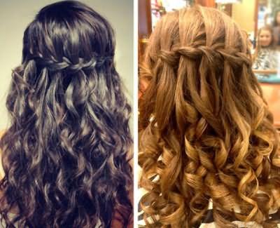 Потрясающая коса водопад с локонами