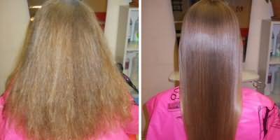 Прическа девушки до и после процедуры